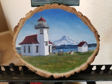 Vashon Island Painted on a 4x6 inch wood slice with oil paints. A lighthouse on Vashon Island in Washington.